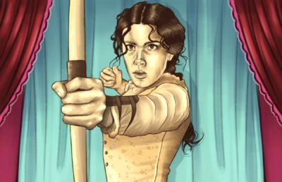 Illustration of Millie Bobby Brown as Enola Holmes, shown readying a crossbow.