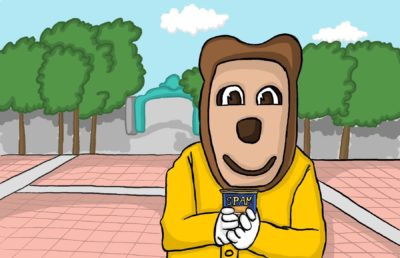 Illustration of Oski Bear holding a can of SPAM in Sproul Plaza.