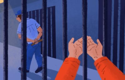 Illustration of a prison inmate extending their hands in request for help, towards a guard turning away.