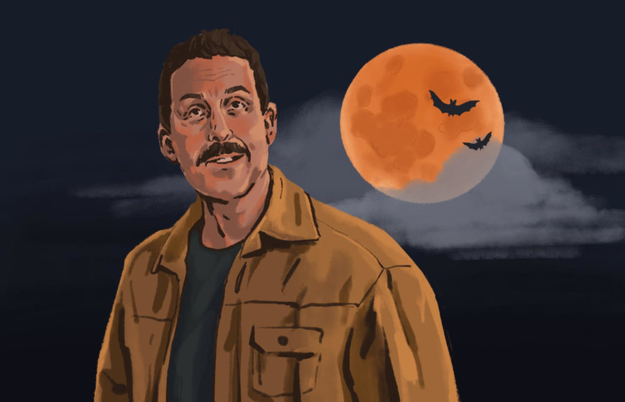 Illustration of Adam Sandler from Hubie Halloween, standing before an orange moon.