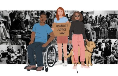 Illustration of three young, disabled individuals standing up for Disability Justice, with a historical photo collage behind.