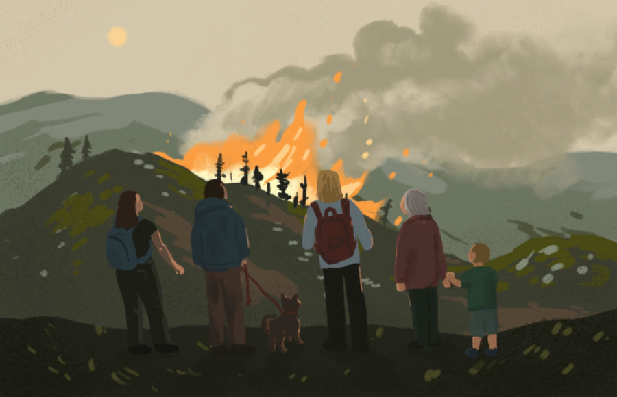 Illustration of a line of 5 people varying in age, some students, standing on a hill watching a wildfire spread in the distance.