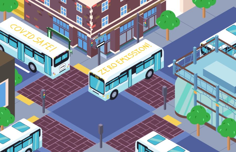 "Illustration of four AC Transit buses driving around Telegraph, with two of the buses bearing the labels ""COVID SAFE"" and ""ZERO EMISSION""."