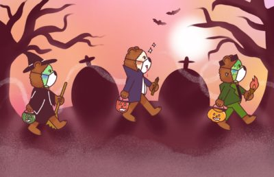 Illustration of three small Oski Bears in halloween costumes, walking through a graveyard.