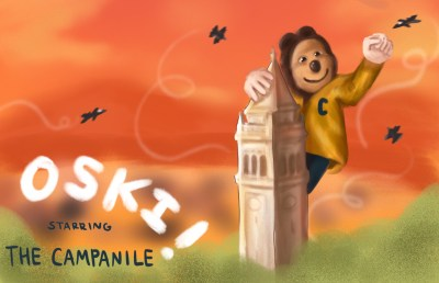 Illustration of Oski bear as King Kong, grappling the campanile in an old movie poster style.