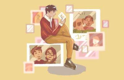 Illustration of a person sitting and admiring many old photos.