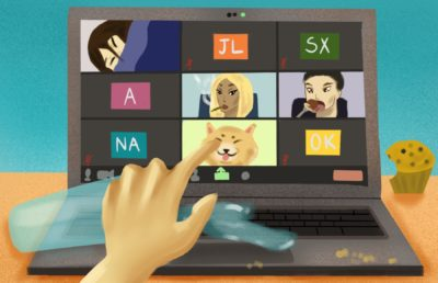 Illustration of people doing chaotic things on zoom, while someone is frantically trying to press buttons on the screen.
