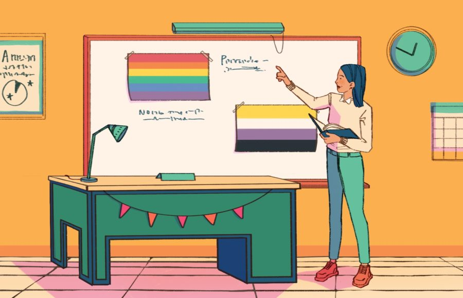 Illustration of a teacher standing before her class, pointing at a board showing the pride and non-binary flags.