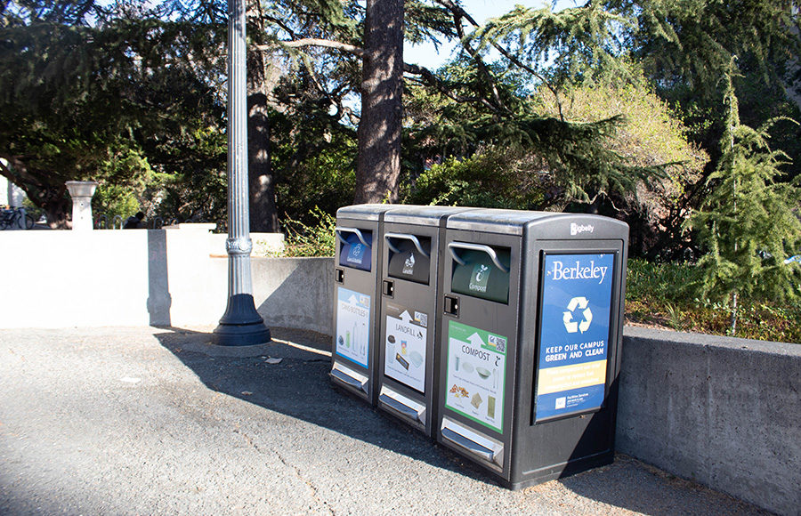 Photo of Berkeley compost, landfill, and recycle bins