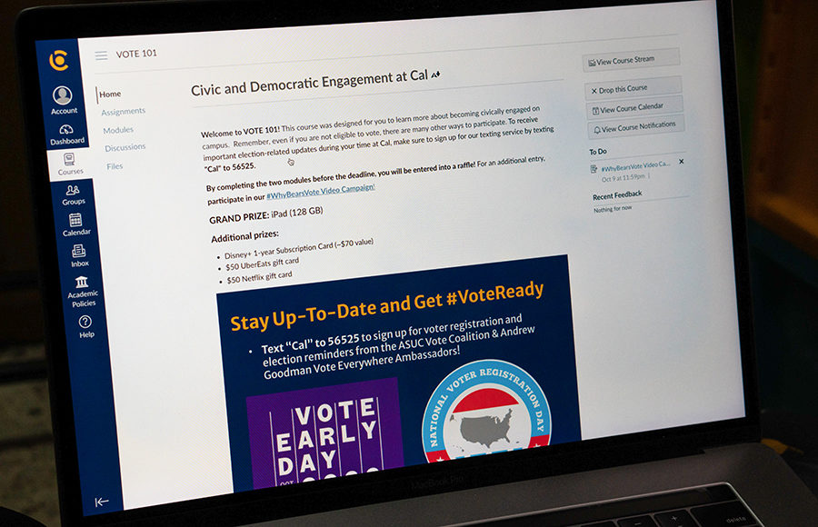 Photo of a computer with Vote 101 module open