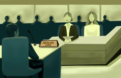 Illustration of an attorney and an asylum applicant sitting together at the bench in a court of Asylum Law.