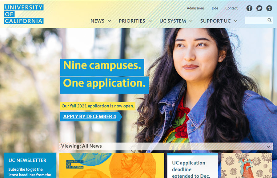 Screenshot of the UC Website