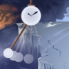 Illustration of a pendulum swinging in front of a glacial scene, with trees burning in the distance.