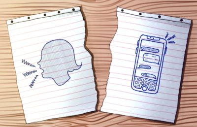 Illustration of a torn paper with one side showing a speaking female silhouette, and the other showing a phone with texts.