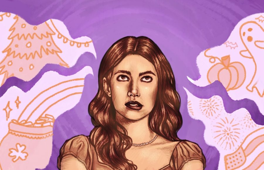 "Illustration of Emma Roberts as Sloane in ""Holidate"", surrounded by images of varying holidays."
