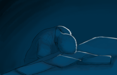 Illustration of a blue, dark scene depicting a burnt out student laying on their books.