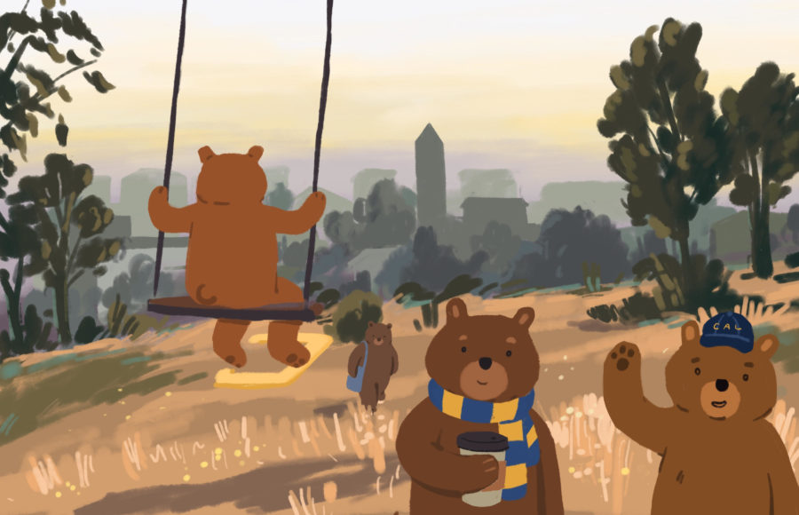 Illustration of bears walking in Cal apparel, with the Berkeley skyline in the distance.