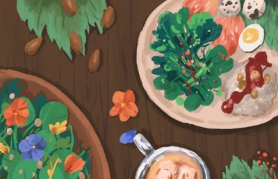 Illustration of traditional Ohlone food served on a table with garnishes.