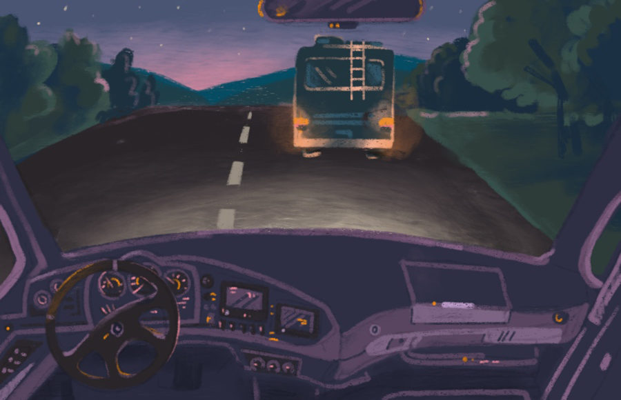 Illustration of an RV, through a following car's dashboard window.