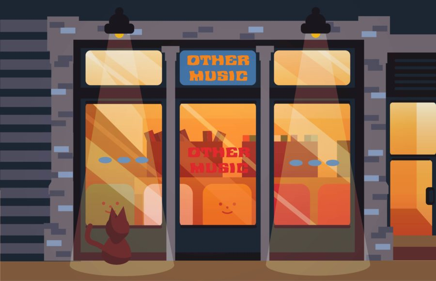 "Illustration of the storefront of ""Other Music"", featuring a black cat."