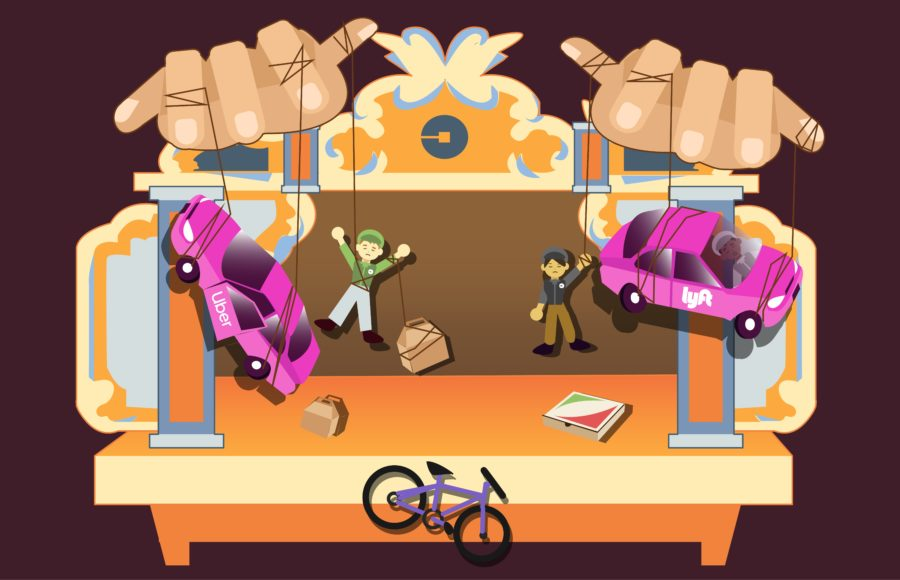 Illustration of gig cars and drivers being moved like puppets in an Uber-branded puppet theatre.