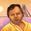 Illustration of Berkeley professor and author Vikram Chandra standing before a bridge.