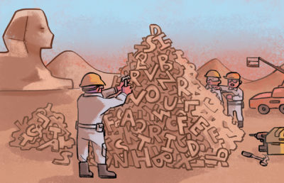 Illustration of people building Egyptian style pyramids out of letters.
