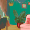 (FILE) Illustration of a colourfully decorated room with a couch, plants, a desk, and fairy lights, by Sarah Pi.