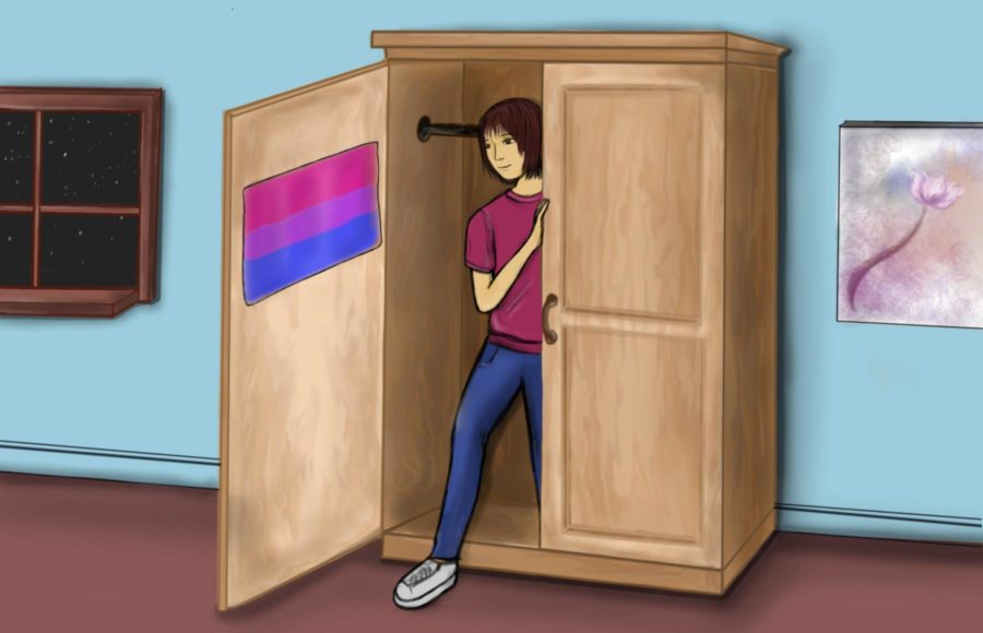 Illustration of a person coming out of a closet with the bisexual pride flag in it.