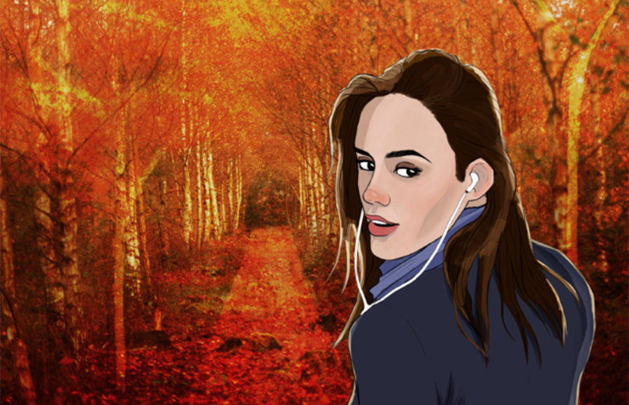 (FILE) Illustration of a girl listening to music while walking through a path of fall foliage.