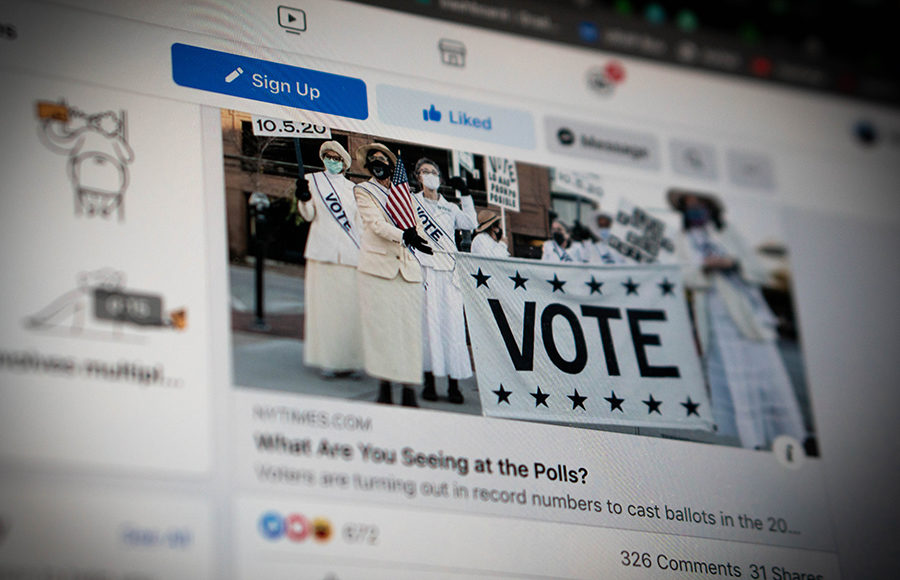 Photo of voting on social media