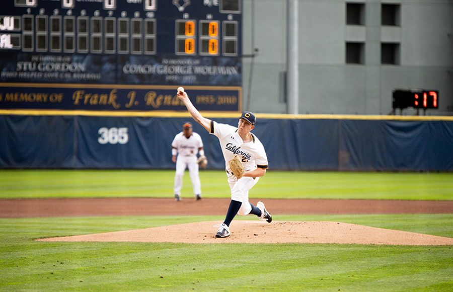 Photo of Cal Baseball Pitcher throwing from the pitcher's mound