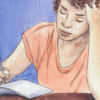 (FILE) Illustration of a girl looking focused while writing in a notebook.