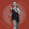 "Illustration of athlete and activist Rosalie Fish, running with red paint on her face and leg reading ""MMIW"""