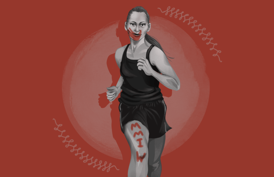 """Illustration of athlete and activist Rosalie Fish, running with red paint on her face and leg reading """"MMIW"""""""