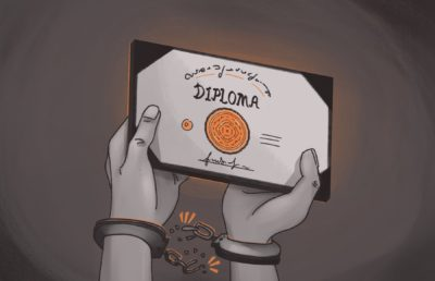 Illustration of a person holding up a diploma, while the handcuffs around their wrists break