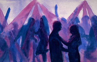 Illustration of a group of people dancing at a party, silhouetted against the light