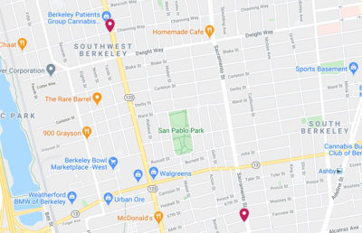 Map screenshot of the location of two shootings