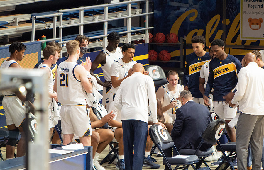 Photo of Cal Men's Basketball during a timeout