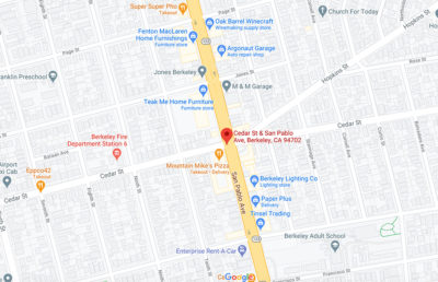 Screenshot of Google Maps with a marker at Cedar St & San Pablo Ave, Berkeley CA