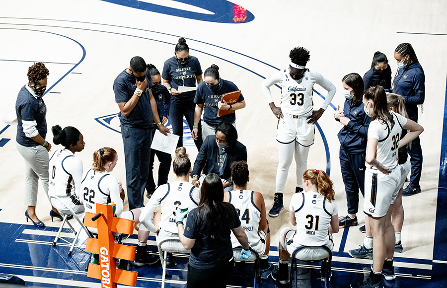Photo of Cal Women's Basketball in a timeout