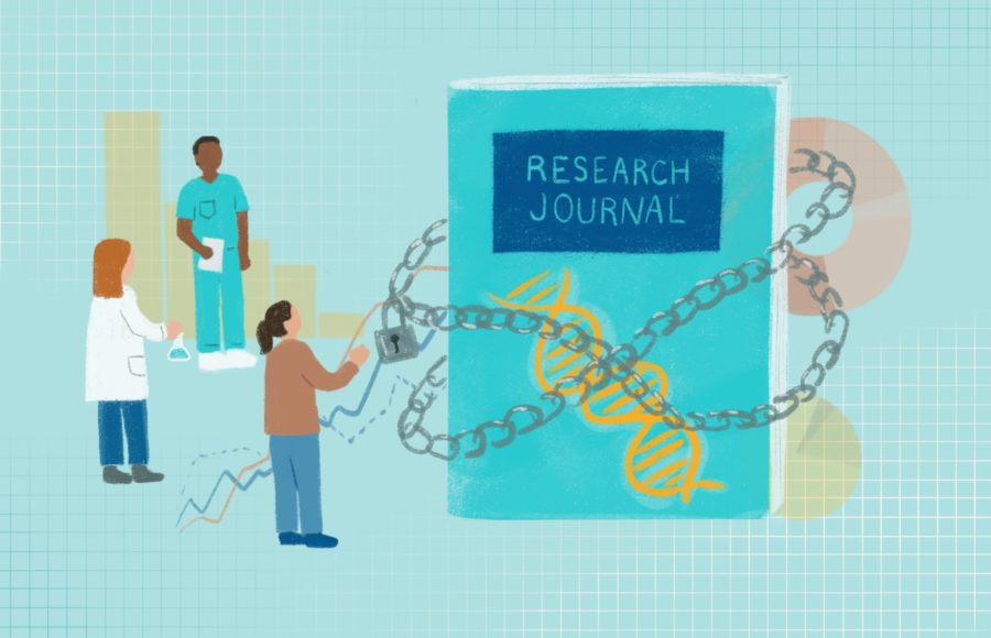 Illustration of a research journal wrapped in chains, inaccessible to students and other researchers