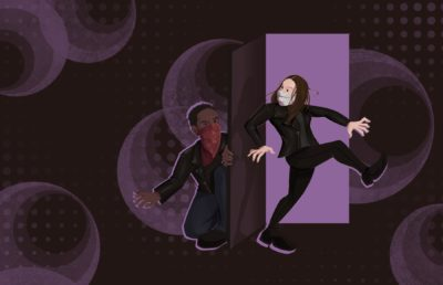 """Illustration of Anne Hathaway and Chiwetel Ejiofor's characters in """"Locked Down,"""" striking classic spy poses, by Aishwarya Jayadeep"""