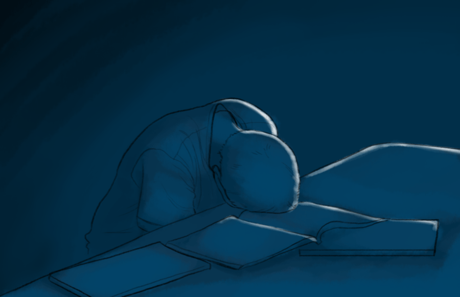 (FILE) Illustration of a person slumped with their head on top of an open textbook