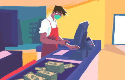 Illustration of a grocery store cashier with money on a conveyor belt moving towards them
