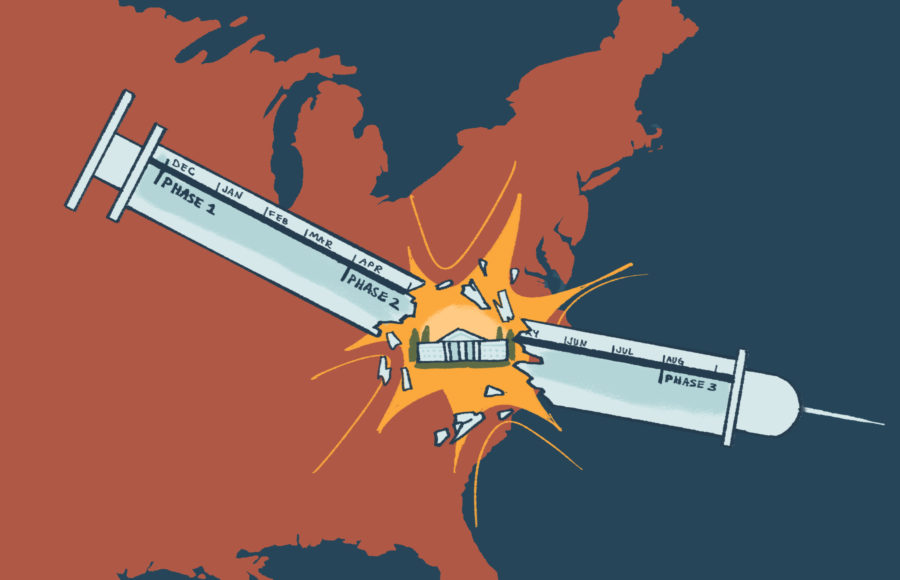 Illustration of a syringe containing the COVID-19 vaccine, marked in terms of vaccine rollout phases and breaking in half to reveal the White House