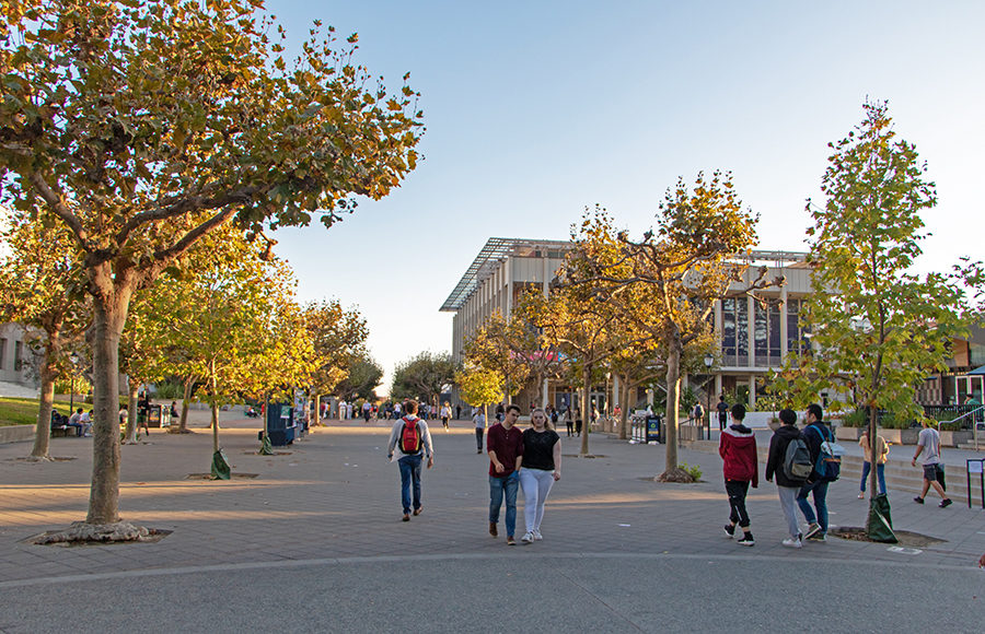 Photo of people walking on Sproul Plaza