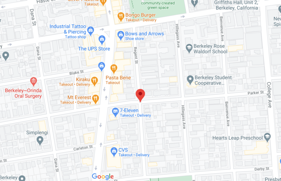 Screenshot of google maps with a marker on Parker and Regent St.
