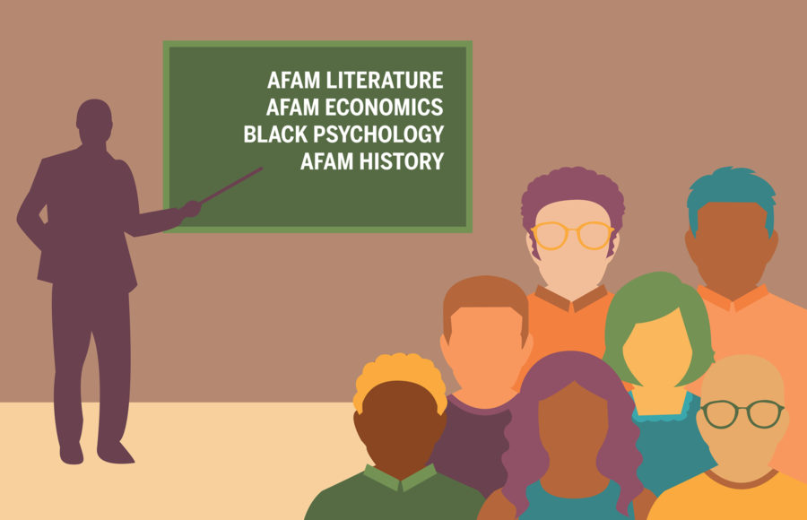 Graphic of a group of diverse students studying subjects such as African American Literature and History