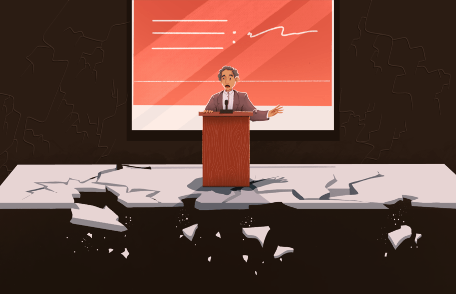 Illustration of a lecturer standing at a podium, with the ground crumbling underneath